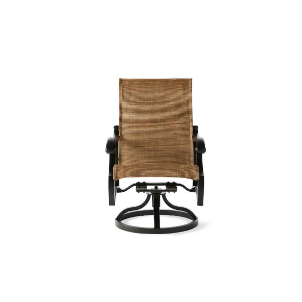 Volare Padded Sling Swivel Rocking Dining Armchair