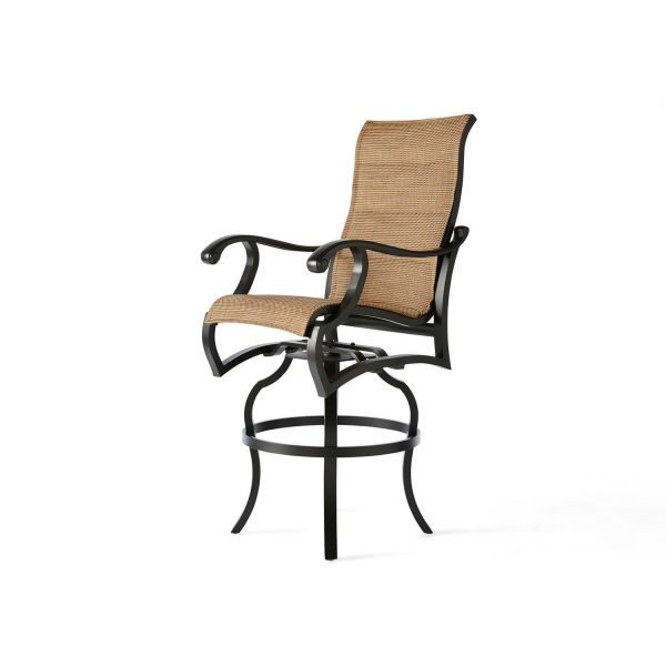 Volare Padded Sling Swivel Bar Stool
